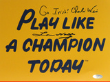 Lou Holtz / Charlie Weis Dual Signed Play Like A Champion Todayw/