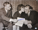 Dick Butkus Chicago Bears B & W of Contract Signing Autographed Photo (Hand Signed Collectable) Photo