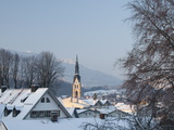 Bad Tolz Spa Town Covered By Snow at Sunrise, Bavaria, Germany Photographic Print by Richard Nebesky