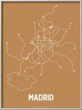 Madrid (Orange & Pearl White) Print by  Line Posters