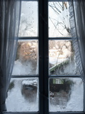 View of Bad Tolz Spa Town Covered By Snow at Sunrise From Window, Bavaria, Germany, Europe Photographic Print by Richard Nebesky