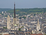 Skyline, Notre Dame Cathedral and Town Seen From St. Catherine Mountain, Rouen, Normandy, France Photographic Print by Guy Thouvenin