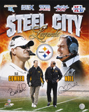 Bill Cowher & Chuck Noll Pittsburg Collage Autographed Photo (Hand Signed Collectable) Photographie