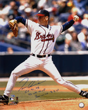 Tom Glavine- Releasing Ball with CY 91,98, 95 WS MVP and 300 Wins 8-5-07 Inscriptions Photo