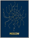 Moscow (Navy & Gold) Prints by  Line Posters