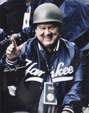 Don Zimmer New York Yankees - Military Hard Helmet with Popeye Inscription Photographie