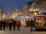 Christmas Market Stalls and People at Marktstrasse at Twilight, Bad Tolz Spa Town, Bavaria, Germany Photographic Print by Richard Nebesky