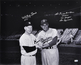 Whitey Ford and Don Newcombe-Black and White, &quot;WE FINALLY BEAT THOSE YANKEES/55 CHAMPS&quot; Inscription Photo