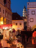 Stalls at Christmas Market With Renaissance Tower, Svornosti Square, Cesky Krumlov, Czech Republic Photographic Print by Richard Nebesky