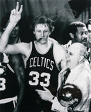Larry Bird Boston Celtics Cigar Celebration with Red Auerbach  Black and White Photo