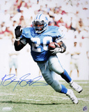 Barry Sanders Detroit Lions Action Running  Wearing Blue Home Jersey Photo