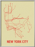 New York City (Cement Green & Orange) Posters by  Line Posters