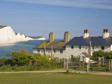 View of the Seven Sisters Cliffs, the Coastguard Cottages on Seaford Head, East Sussex Photographic Print by Neale Clarke