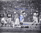 Chuck Bednarik over Frank Gifford w/ &quot;HOF 67 / This f Game is OVER! Sorry Frank&quot; Inscription Photo