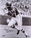 Gale Sayers Chicago Bears Black and White  with HOF '77 Inscription Photo