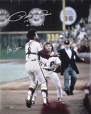 Pete Rose and Bob Boone  with Rose 1980 WS Champs Inscription Photo