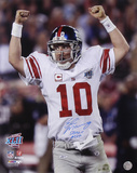 Eli Manning NY Giants SB XLII Ams in Air SB XLII MVP Autographed Photo (Hand Signed Collectable) Photo