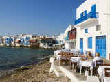 Ancient District of Alefkandra (Little Venice), Mykonos, Cyclades, Greek Islands, Greece, Europe Fotografisk tryk