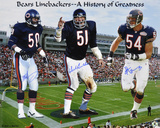 Dick Butkus, Brian Urlacher & Mike Singletary Chicago Bears - Monsters of the Midway Photo
