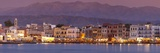 Harbour at Dusk and White Mountains, Chania, Crete, Greek Islands, Greece, Europe Photographic Print by John Miller