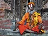 Sadhu, Durbar Square, Kathmandu, Bagmati, Central Region, Nepal, Asia Fotografisk tryk af Jochen Schlenker