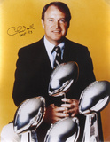 Chuck Noll Steelers 4 Super Bowl Trophies with HOF 93 Autographed Photo (Hand Signed Collectable) Photo