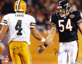 Brett Favre and Brian Urlacher - Action - Dual 16x20 Autographed Photo (Hand Signed Collectable) Photo