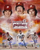 Philadelphia Phillies 1980 World Series  Collage signed by Pete Rose, Steve Carlton and Mike Schmid Photo