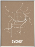 Sydney (Packing Brown & White) Prints by  Line Posters
