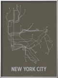 New York City (Charcoal Brown & Silver) Art by  Line Posters