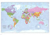 World Map (Political, Time Zones) Plakater