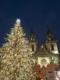 Gothic Tyn Church, Christmas Tree at Twilight in Old Town Square, Stare Mesto, Prague Photographic Print by Richard Nebesky