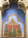 Painting of the Annunciation and Trinity, Notre Dame Cathedral, Bayeux Calvados, Normandy, France Photographic Print by Guy Thouvenin