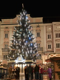 Christmas Tree, Baroque Building and Stalls at Christmas Market, Linz, Austria Photographic Print by Richard Nebesky