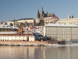 Snow-Covered Prague Castle, Mala Strana and Vltava River, UNESCO World Heritage Site, Prague Photographic Print by Richard Nebesky
