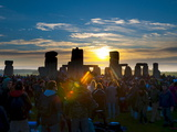 Sunrise at Summer Solstice Celebrations, Stonehenge, Wiltshire, England, Uk Photographic Print by Alan Copson
