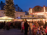 Christmas Market With Stalls, People and Christmas Tree, Markt Square, Annaberg-Bucholz, Germany Photographic Print by Richard Nebesky
