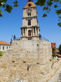 Clocktower in the Turkish District of the City of Rhodes, Rhodes, Dodecanese, Greek Islands, Greece Impressão fotográfica