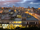 View Over Havana Centro at Night From 7th Floor of Hotel Seville, Havana, Cuba Fotografie-Druck von Lee Frost