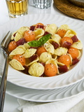 Orecchiette Pasta With Melon Ball, Prosciutto (Ham), Parmesan Cheese and Basil, Italy, Europe Fotografisk tryk af Nico Tondini