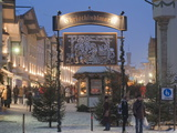 Main Entrance to Christkindlmarkt (Christmas Market), Marktstrasse at Twilight, Bavaria Photographic Print by Richard Nebesky