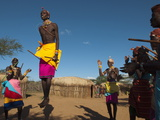 Samburu Tribesmen Performing Traditional Dance, Loisaba Wilderness Conservancy, Laikipia, Kenya Photographic Print by Sergio Pitamitz