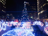 Christmas Tree and Decorations Above Cheonggye Stream at Cheonggye Plaza, Seoul, South Korea Photographic Print by Richard Nebesky
