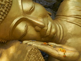 Detail of Statue of Buddha, Phu Si Hill, Luang Prabang, UNESCO World Heritage Site, Laos, Indochina Photographie
