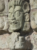 Stone Sculptured Face of the God of the Underworld, East Court, Copan Archaeological Park, Honduras Photographic Print by Richard Maschmeyer