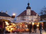 Christmas Market (Christkindlmarkt) Stalls and Town Hall, Kapellplatz, Bavaria Photographic Print by Richard Nebesky
