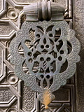 Bronze Knocker on Wooden Engraved Doors, Reales Alcazares, Seville, Andalucia, Spain, Europe Photographic Print by Guy Thouvenin