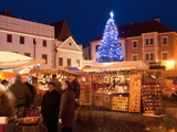 Christmas Market Stalls and Christmas Tree, Svornosti Square, Cesky Krumlov, Czech Republic Photographic Print by Richard Nebesky