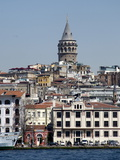 Galata Tower in Background, the Bosporus, Istanbul, Turkey, Europe Photographic Print