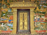 Wall Painting of the Life of Buddha, Ban Xieng Muan, Luang Prabang, Laos, Indochina, Southeast Asia Photographic Print by Jochen Schlenker